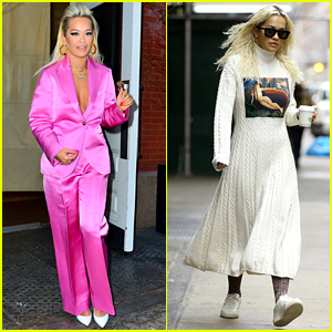 Rita Ora Sports Pink Suit & Rainbow Nails for 'Jimmy Fallon' Appearance