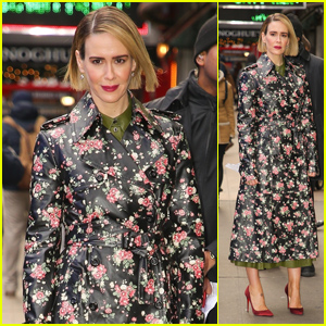 Sarah Paulson Looks Pretty in a Floral Coat While Promoting 'Glass' in NYC