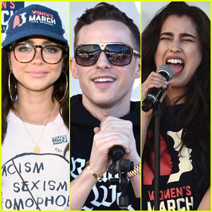 Sarah Hyland Joins Adam Rippon & Lauren Jauregui at Women's March 2019