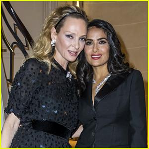 Salma Hayek & Uma Thurman Meet Up at Boucheron's Paris Party