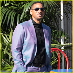 Will Smith Is Stylish in a Purple Suit on the Set of 'Bad Boys for Life'