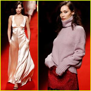 Bella Hadid Walks in Philosophy Di Lorenzo Serafini Fashion Show
