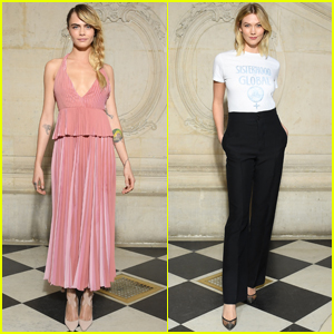 Cara Delevingne & Karlie Kloss Attend Dior Fashion Show During Paris Fashion Week