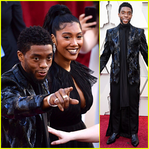 Chadwick Boseman Girlfriend Taylor Simone Ledward Couple Up For Oscars 2019 2019 Oscars Chadwick Boseman Oscars Taylor Simone Ledward Just Jared