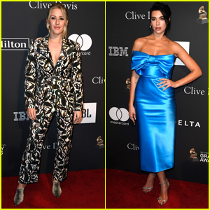 Ellie Goulding & Dua Lipa Arrive in Style for Clive Davis' Pre-Grammys Party!