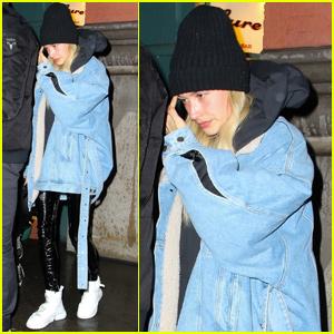 Hailey Bieber Bundles Up For Dinner in New York City!
