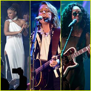 Chloe X Halle, Brandi Carlile & H.E.R. Perform at Clive Davis' Pre-Grammys Party