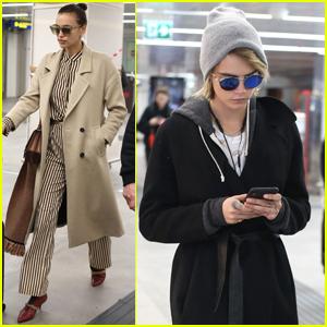 Irina Shayk & Cara Delevingne Arrive in Milan for Fashion Week