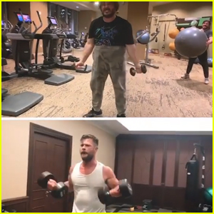 Jack Black Hilariously Tries Chris Hemsworth's 'Thor' Workout - Watch Now!