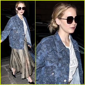 Jennifer Lawrence Dons Printed Jacket & Skirt During Paris Fashion Week