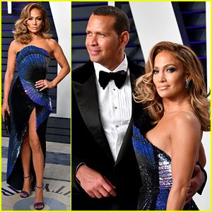 Jennifer Lopez Stuns in Wavy Blue Dress at Vanity Fair's Oscars 2019 Party