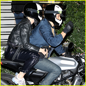 Katy Perry & Orlando Bloom Arrive on Motorcycle for Jennifer Aniston's Birthday Party