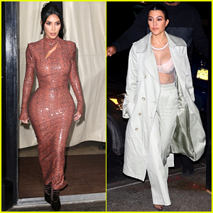Kim Kardashian Wears Skintight Dress While Out for Dinner with Kourtney