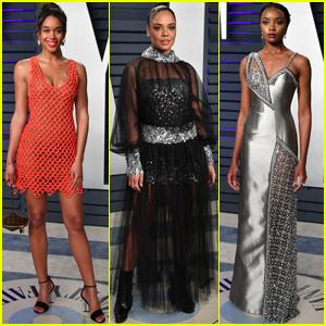 Laura Harrier, Tessa Thompson, & KiKi Layne Go Glam for Vanity Fair Oscars Party!