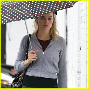 Margot Robbie Braves the Rain for Her Afternoon Workout