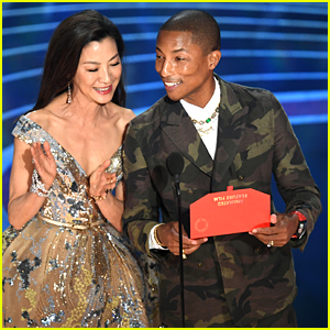 Pharrell Williams Takes the Stage in Camo-Print at Oscars 2019