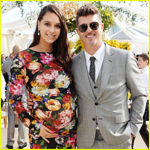 Robin Thicke's Pregnant Fiancee April Love Geary Joins Him at Roc Nation's The Brunch