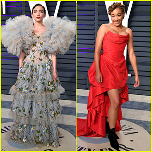 Amandla Stenberg & Rowan Blanchard Wear Statement Gowns To Vanity Fair's Oscar Party