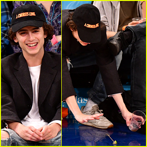Timothee Chalamet Spills His Drink at New York Knicks Game!