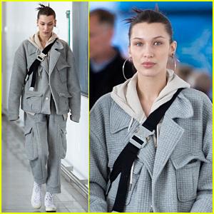 Bella Hadid Bundles Up in Comfy Grey Suit While Landing in NYC