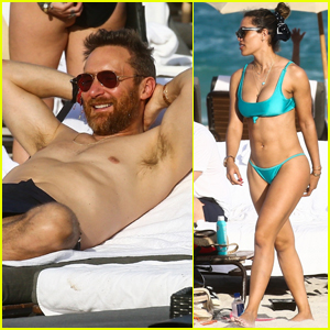 David Guetta Hits the Beach in Miami with Girlfriend Jessica Ledon!