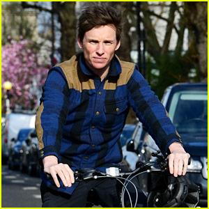 Eddie Redmayne Enjoys a Bike Ride in Notting Hill