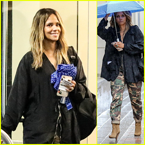 Halle Berry Braves the Rain for a Meeting in LA