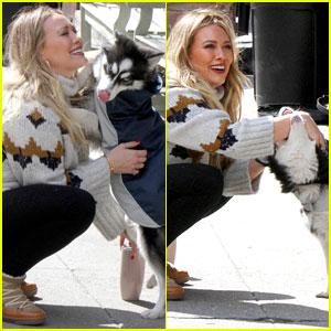Hilary Duff Greets a Puppy on Set, Gets a Playful Bite on the Wrist!