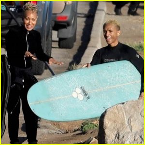 Jada Pinkett Smith & Son Jaden Do Some Surfing in Malibu