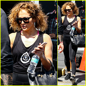 Jennifer Lopez Sports Curly Hair After Gym Session in Miami