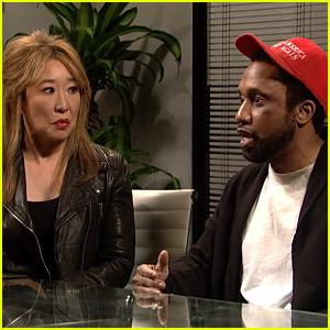 Sandra Oh Pokes Fun at Jussie Smollett on 'Saturday Night Live' - Watch!