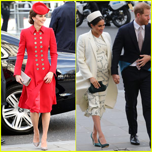 Duchesses Kate Middleton & Meghan Markle Join Their Husbands for Commonwealth Services