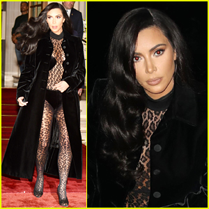 Kim Kardashian Slays in Sheer Cheetah Catsuit in Paris