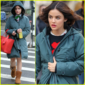 Lucy Hale Braves the Rain for Day on 'Katy Keene' Set