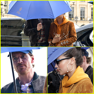 Michael Fassbender & Alicia Vikander Brave the Rainy Weather in Paris