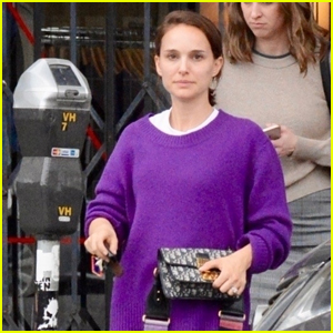 Natalie Portman Goes Pretty in Purple for Lunch