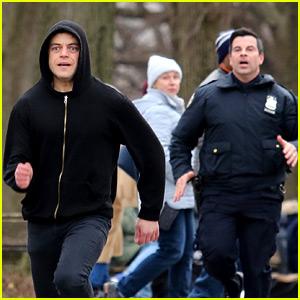 Rami Malek Runs From the Cops for 'Mr. Robot' Scene
