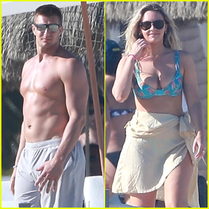 Shirtless Rob Gronkowski Hits the Beach in Cabo with Girlfriend Camille Kostek