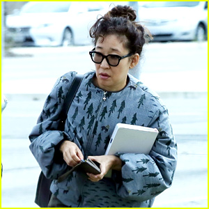 Sandra Oh Sports Printed Jacket for Business Meeting in LA
