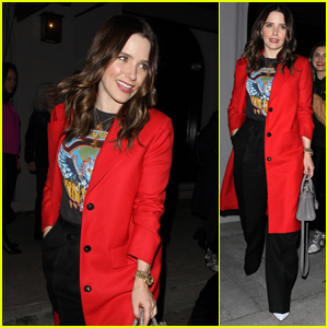 Sophia Bush Looks Chic in Red After Dinner at Craig's