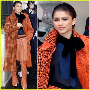 Zendaya Pops in Orange While Out During Paris Fashion Week