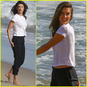 Alessandra Ambrosio Splashes in the Ocean For Beach Photo Shoot