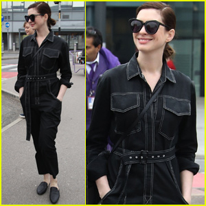 Anne Hathaway Makes a Chic Arrival in London!