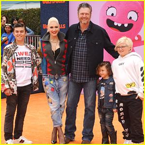 Blake Shelton is Joined by Gwen Stefani & Her Kids at 'UglyDolls' Premiere!