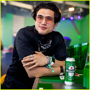 Charles Melton Cools Off with a Beer at Coachella Weekend Two