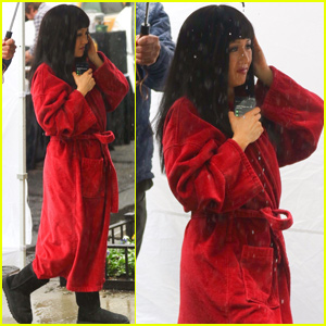 Constance Wu Braves the Rain on the Set of 'Hustlers'