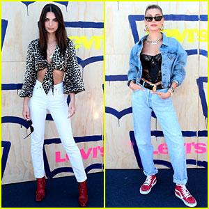 Emily Ratajkowski & Hailey Bieber Wear Red Shoes for Levi's Party at Coachella 2019