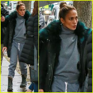 Jennifer Lopez Bundles Up For Rainy Day on 'Hustlers' Set