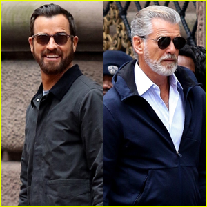 Justin Theroux & Pierce Brosnan Spend The Day Filming 'False Positive'