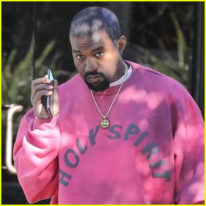 Kanye West Rocks Bright Pink Outfit for Day at the Office